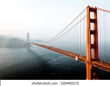 Aerial view of the San Francisco Golden Gate bridge. Beautiful close up shots.