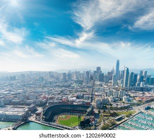 Aerial view of San Francisco skyline on a beautiful sunny summer day.