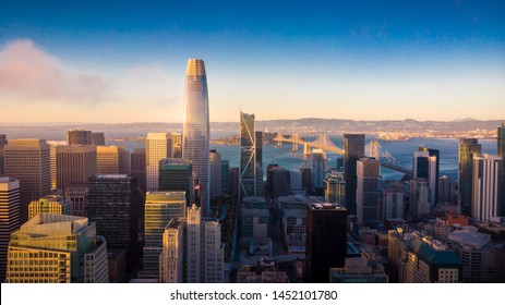Aerial View of San Francisco Skyline at Sunset, California, USA