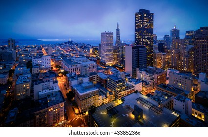 Aerial view of San Francisco Skyline at Night, California, USA