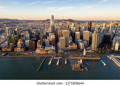 Aerial view of San Francisco at sunrise from over the San Francisco Bay