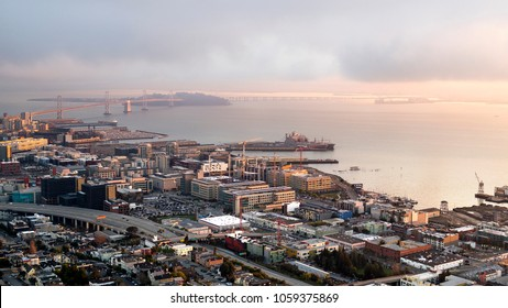 Aerial view of San Francisco's Mission Bay and Potrero Hill Neighborhoods with the bay and skyline beyond
