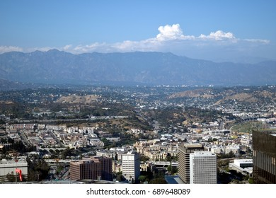 An aerial view of the San Gabriel Mountains as seen from the northern part of downtown Los Angeles.