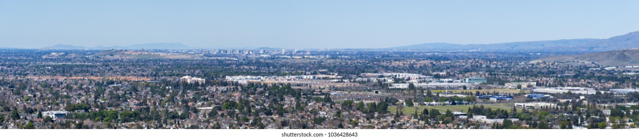 Aerial view of San Jose; Diablo mountain range in the background, south San Francisco bay area, California