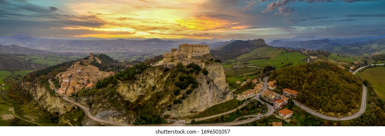 Aerial view of San Leo village and fortress in Italy near the Adriatic sea