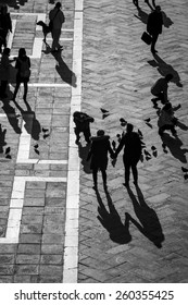 Aerial view of San Marco Piazza (Saint Marc Square): Shadow of tourists on the square