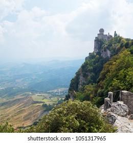 Aerial view of San Marino, Cesta Tower