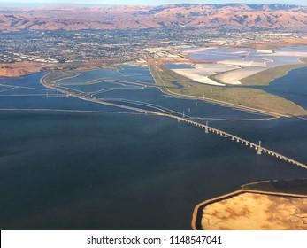 Aerial View of San Mateo Bridge in San Francisco Bay Area