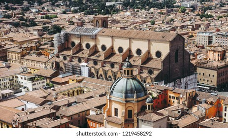 Aerial view of San Petronio church in the city of Bologna, Italy
