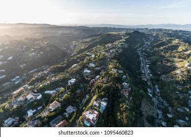 Aerial view of San Ysidro Drive and the South Beverly Park neighborhood above Beverly Hills and Los Angeles in Southern California.