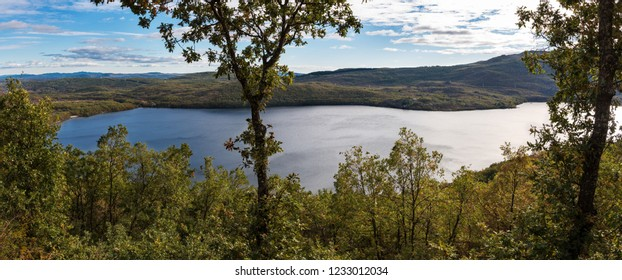 Aerial view of Sanabria Lake Natural Park in the Northwest part of Spain.