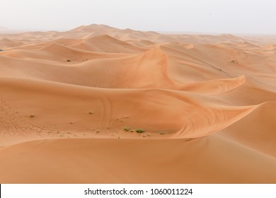 An aerial view of a sand dune in the desert of the UAE.