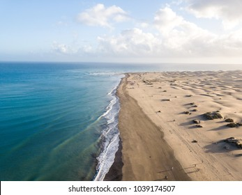 Aerial view of Sand dunes on the beach of Maspalomas, Gran Canaria