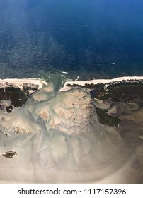 Aerial view of sand in an inlet on Long Island
