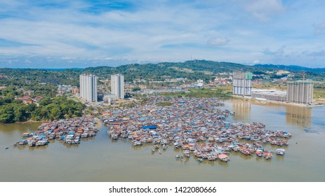 An Aerial view of Sandakan City with Kg. Sim Sim water village. Sandakan once known as Little Hong Kong of Borneo.