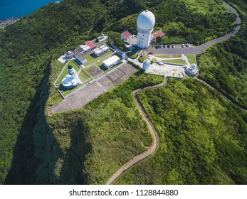 Aerial View of Sandiao Cape Lighthouse - Northeast and Yilan Coast National Scenic Area. Coast landscape birds eye view use the drone, shot in Gongliao District, New Taipei, Taiwan.