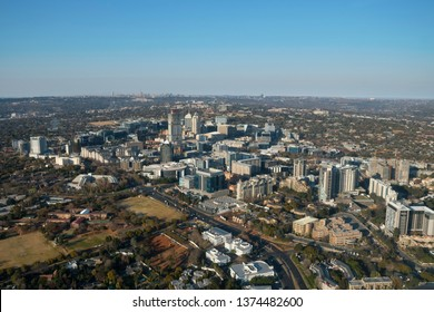 Aerial view of Sandton with logos edited out
