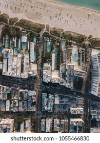 Aerial view of sandy beach and cityscape, Miami Beach, Florida, USA