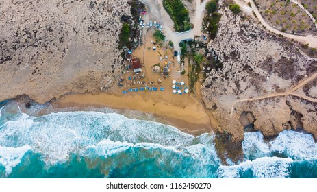Aerial view of Sandy beach in Cyprus, Paphos, popular tourist and surfer destinations