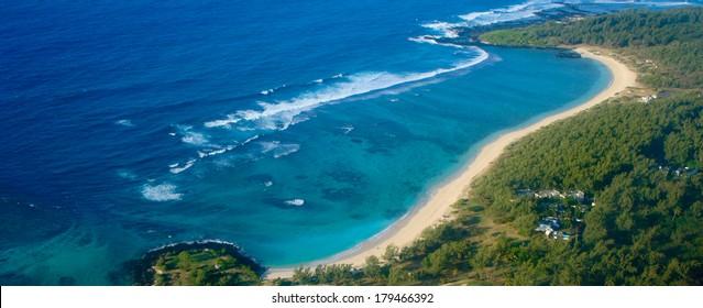 Aerial view of   sandy beach in Mauritius