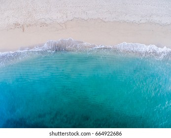 Aerial view of a sandy Beach on the north shore of Oahu Hawaii