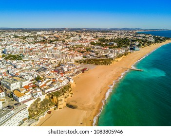 Aerial view of sandy Fishermen Beach in Albufeira, Algarve, Portugal
