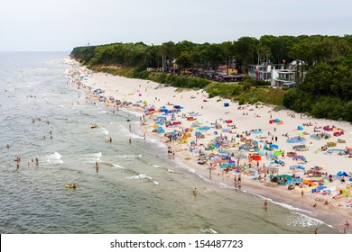 aerial  view of sandy polish beach on Baltic sea