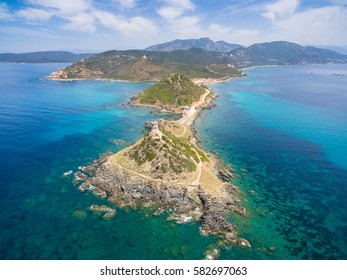 Aerial view of Sanguinaires bloodthirsty Islands in Corsica, France
