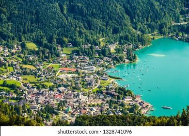 Aerial View Of Sankt Gilgen Wolfgangsee - Salzkammergut, Salzburg, Austria