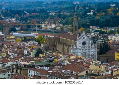 Aerial view of Santa Croce Church in Florence, Italy