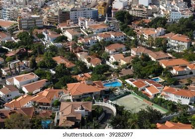 Aerial view of Santa Cruz de Tenerife, Spain