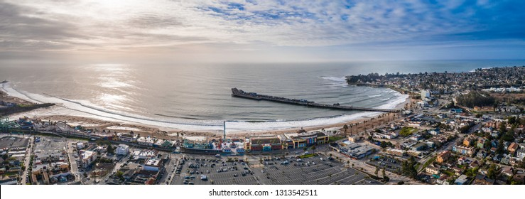 Aerial view of the Santa Cruz pier rollercoaster California US. Longest wooden pier in the USA.