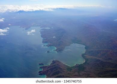 Aerial view of the Santa Elena Bay in Guanacaste, Costa Rica