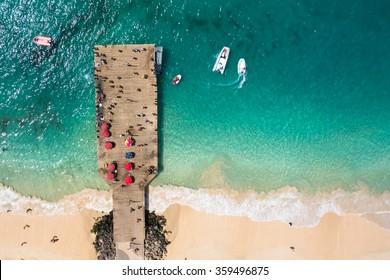 Aerial view of Santa Maria beach pontoon in Sal Island Cape Verde - Cabo Verde