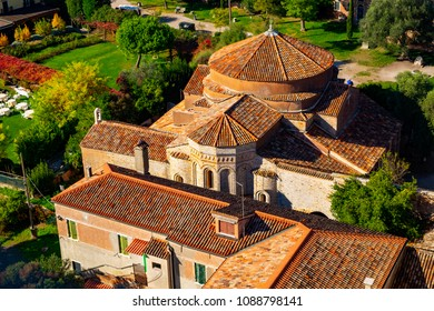 Aerial view of Santa Maria di Assunta cathedral on Torcello island in Venice lagoon, Italy