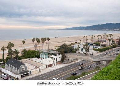 Aerial view of Santa Monica bay, beach and Pacific Coast Highway, California