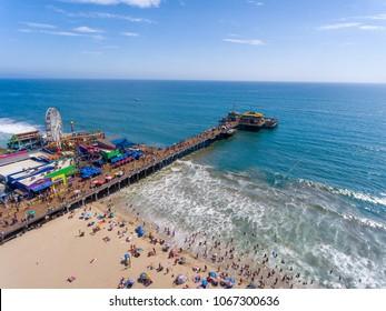 Aerial view of Santa Monica Pier, California - USA.