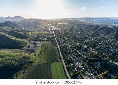 Aerial view of Santa Rosa Valley Camarillo homes and farms in Ventura County, California.