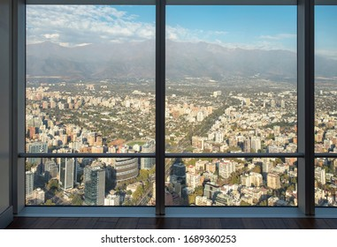 Aerial View Of Santiago, Chile Through An Office Window