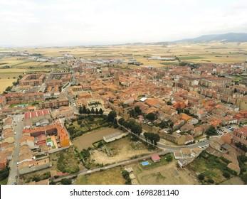 Aerial view in Santo Domingo de la Calzada.  Camino de Santiago. La Rioja,Spain. Drone photo