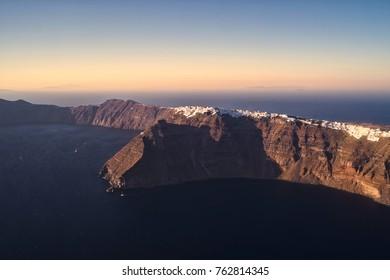 Aerial view of Santorini Island in Greece