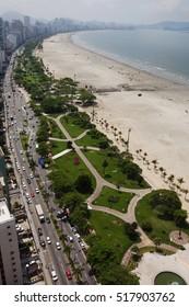 Aerial view Santos, a city of Baixada Santista, located on the coast area of Sao Paulo State, Brazil.