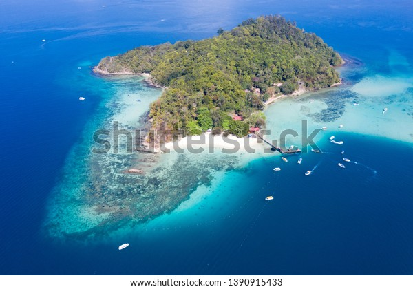 An aerial view of Sapi Island Tunku Abdul Rahman Marine Park Sabah. Sapi Island is one of the most popular places and tourist attraction in Sabah.