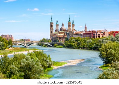 Aerial view of Saragossa, Spain with Basilica of Our Lady of the Pillar and the Ebro River. The capital of Aragon famous for its Mudejar architecture landmarks
