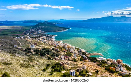 Aerial view of Saranda, a coastal resort in Albania