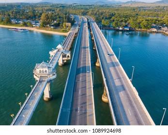 Aerial view of Sarasin Bridge, The bridge is a between Phang Nga and Phuket, landmark