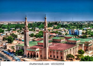 The Aerial view to Saudique  Grand Mosque in Nouakchott in Mauritania