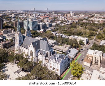 Aerial view of Savannah, Georgia with St John the Baptist Church in foreground.