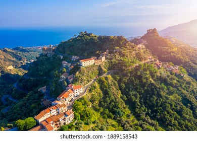 Aerial view of Savoca village in Sicily, Italy. Sicilian village Savoca (known from the Godfather movies). Houses on a hill in Savoca, small town on Sicily in Italy.