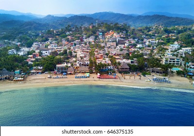 Aerial view of Sayulita Mexico's main beach